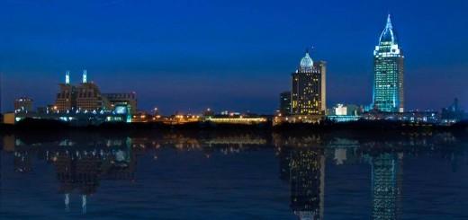 Mobile, Alabama's skyline lit up blue in support of law enforcement. (Photo: City of Mobile Facebook)