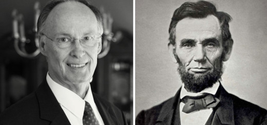 Gov. Robert Bentley (left) and President Abraham Lincoln (right)