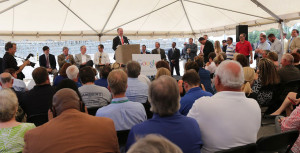 Alabama Gov. Robert Bentley joined Google and local officials to announce the company's $600 million data center a year ago. (Governor's Office/Jamie Martin)