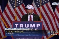 """Sen. Jeff Sessions (R-Ala.) wears a """"Make Mexico Great Again, Too"""" hat during Donald J. Trump's visit to Mexico."""