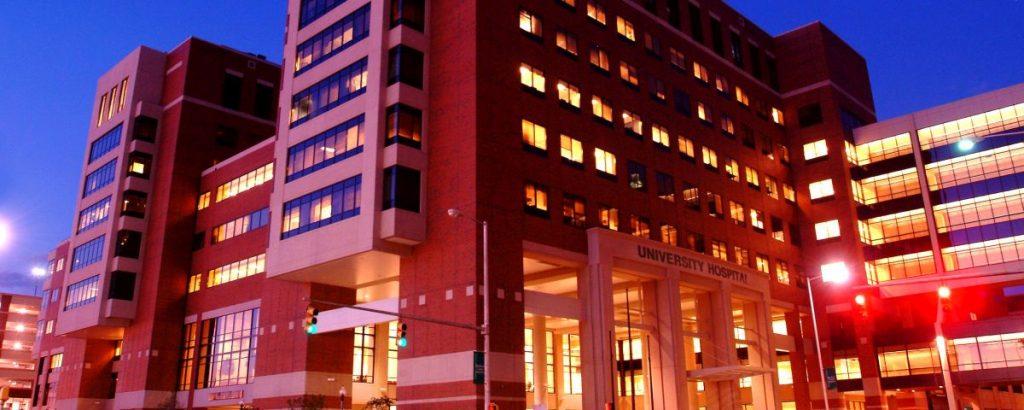 University Hospital exterior at night. (file)