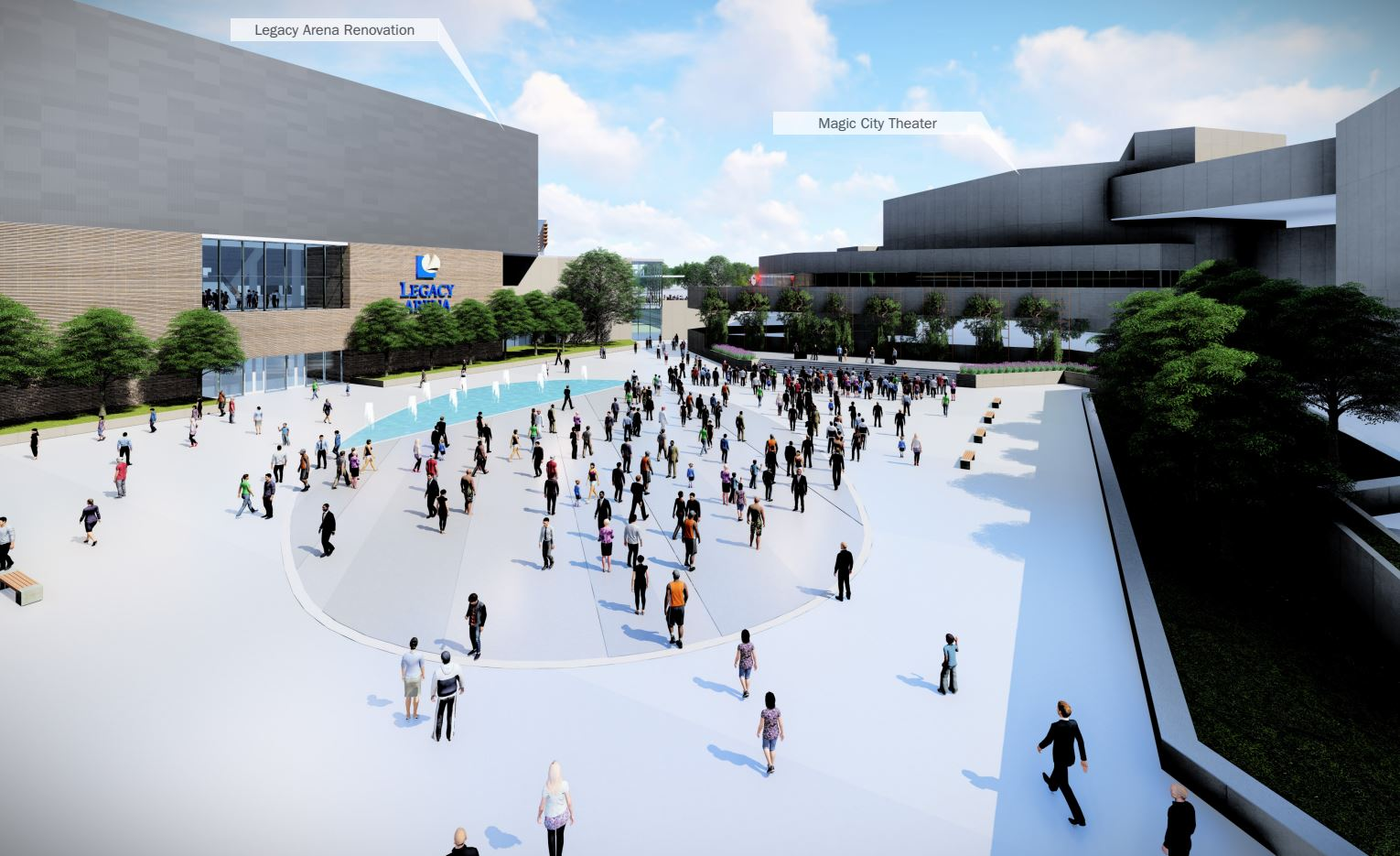 Proposed changes to the BJCC piazza. (Populous)