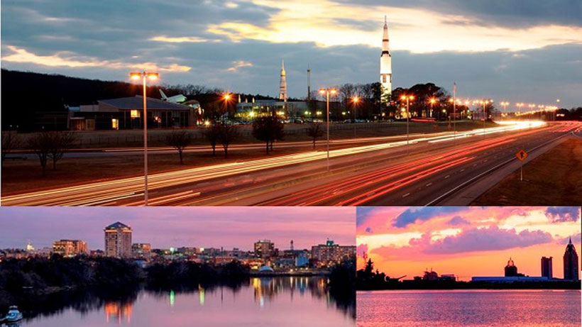 Alabama cities Huntsville (top), Montgomery (bottom left) and Mobile (bottom right) ranked in the Top 25 of cities in the nation with the lowest cost of living, according to website Niche. (file)