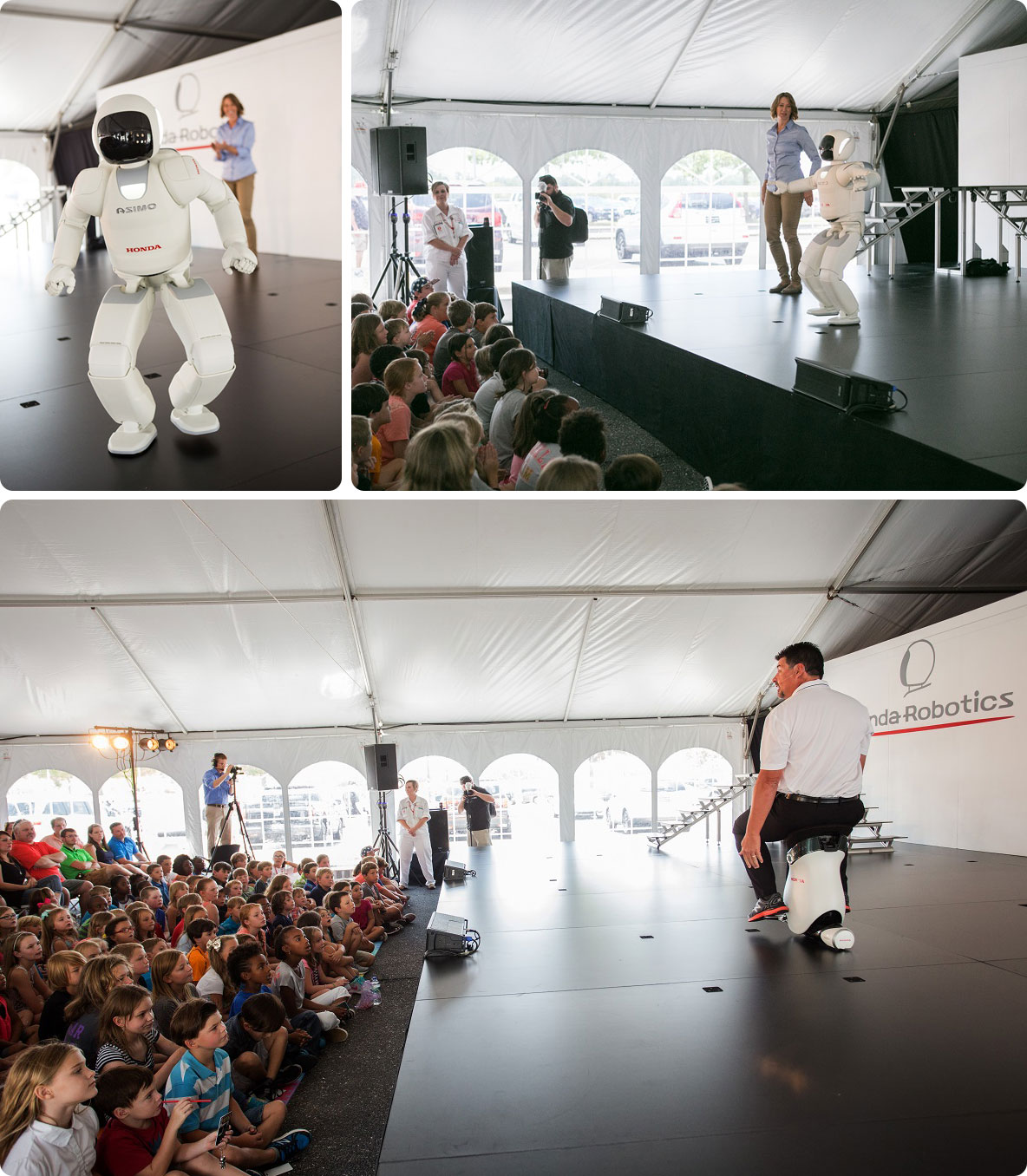 Honda's ASIMO robot shows an audience at Honda Manufacturing of Alabama what he can do. (Honda)