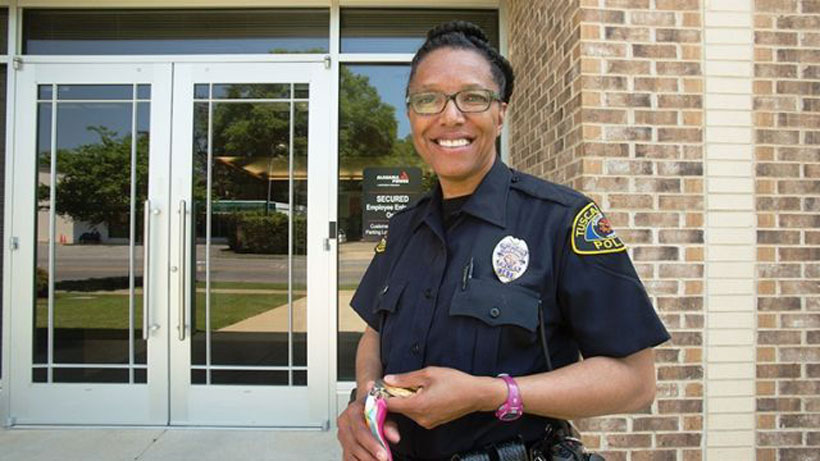 Lillie Leatherwood today works as a security officer at Alabama Power's Western Division office. She holds winning Olympic medals. (Meg McKinney/Alabama NewsCenter)