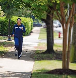 Leatherwood running today (Meg McKinney/Alabama NewsCenter)