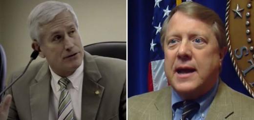 Sen. Paul Bussman (left) and Sen. Dick Brewbaker (right) announced their resignations from the Senate Republican Caucus.