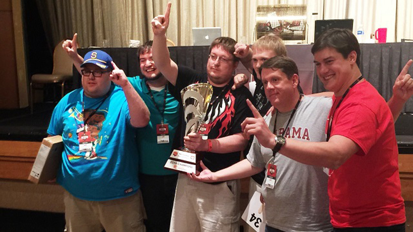 Pacers celebrate their national championship at at the National Trivia League finals in Las Vegas. (John Herr / Alabama NewsCenter)