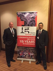 Jim Bolte, left, head of the Toyota engine plant in Huntsville, joined the Alabama delegation at the Southeast U.S. Japan annual joint meeting.
