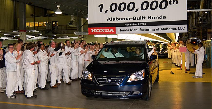 Honda's 1 millionth Alabama-made vehicle was completed Nov. 3, 2006. (Image: Honda)