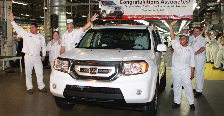 Honda's Alabama workers celebrate the 2 millionth vehicle produced at the Lincoln plant on Sept. 3, 2010. (Image: Honda)