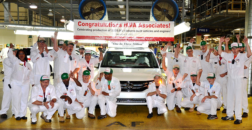 The 3 millionth Alabama-made Honda rolled off the assembly line in Lincoln on Dec. 5, 2013. (Image: Honda)