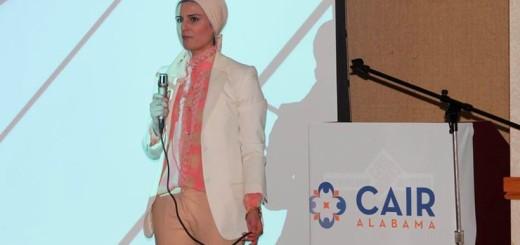 CAIR-Alabama Director Khaula Hadeed speaks at the University of Alabama-Birmingham. (Photo: Facebook)