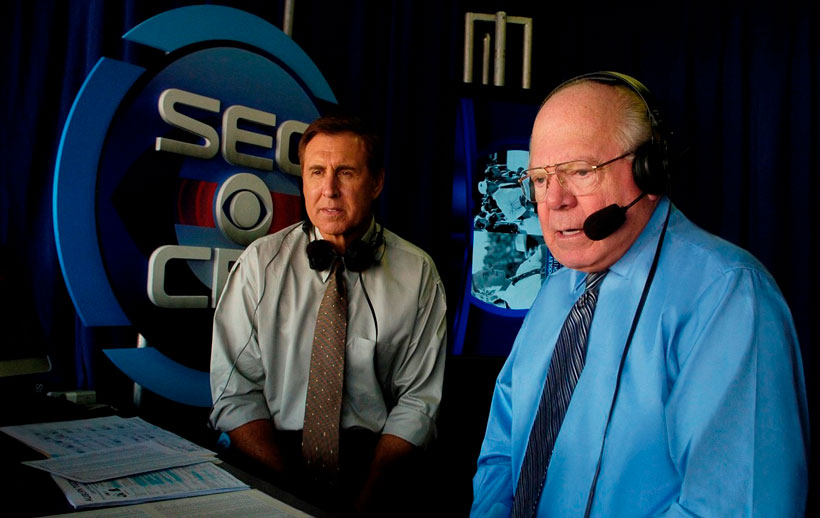 Gary Danielson and Verne Lundquist provide play-by-play commentary for an Auburn-Georgia game. At the end of this season, Lundquist will turn his job over to Brad Nessler after 53 years in the business. (CBS)