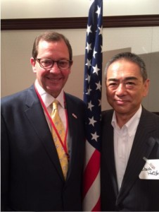 Alabama Honorary Consul General of Japan Mark Jackson stands with former Hitachi North America chairman Takashi Hatchoji while in Tokyo for the Southeast U.S. Japan joint meeting.