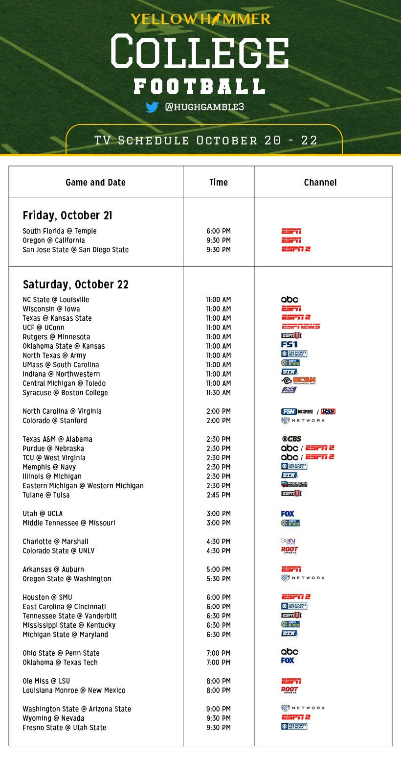 college football week 8 schedule ncaa college schedule
