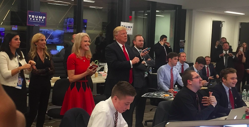 Campaign manager Kellyanne Conway, Donald J. Trump, and communications advisor Cliff Sims watch returns come in on Election Night.