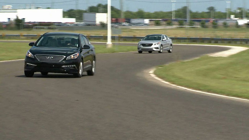 An aggressive S-turn on the track at Hyundai's Alabama assembly plant is meant to test how the steering and suspension of Montgomery-made vehicles perform. (Image: Hyundai Alabama)