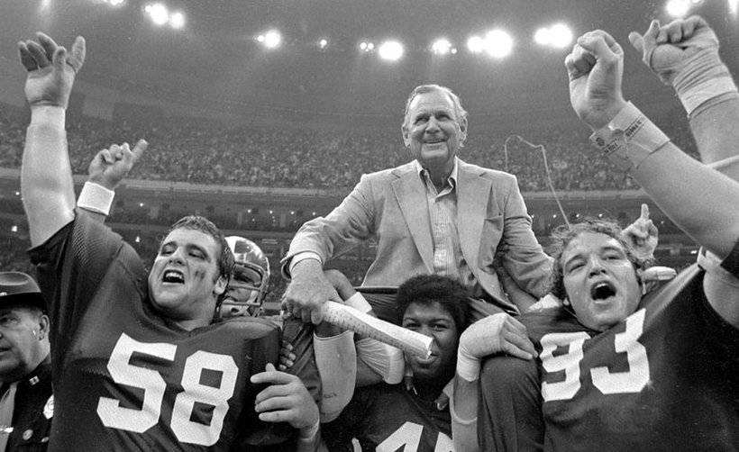 "Marty Lyons (No. 93) helps carry Alabama head football coach Paul ""Bear"" Bryant off the field after beating Ohio State in the 1978 Sugar Bowl. (Photo: Jerry Lodriguss)"