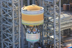 A cryogenic tank is lowered into place at a test stand at NASA's Marshall Space Flight Center this month. (Image: NASA)