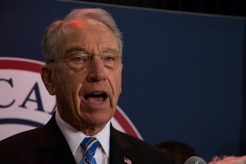 Senator Chuck Grassley speaks to a Republican audience in downtown Des Moines after winning his 7th election to the U.S. senate. (Photo: John Pemble)