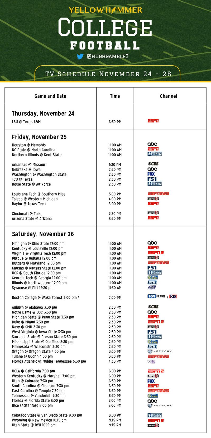 week 11 college football schedule sbr forum college football