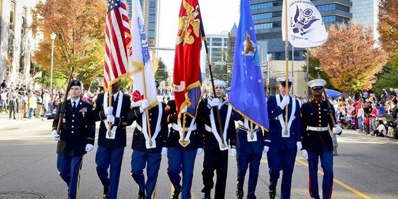 Members of the 117th Air Refueling Wing participate in Birmingham's Veterans Day Parade. (U.S. Air National Guard photo by SMSgt Ken Johnson, 117th Air Refueling Wing)