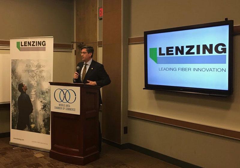 Mobile Chamber President Bill Sisson speaks at the Lenzing announcement.