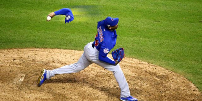 The strain of throwing a Major League fastball, especially one as fast as Aroldis Chapman's, puts the arm and shoulder under constant pressure. (Contributed)