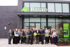 Regions Bank, Trussville Chamber of Commerce and Trussville city officials cut the ribbon on the new Regions Bank branch in downtown Trussville. (contributed)