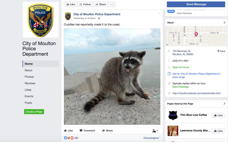 Moulton, Alabama Police Department's Hilarious Facebook Post