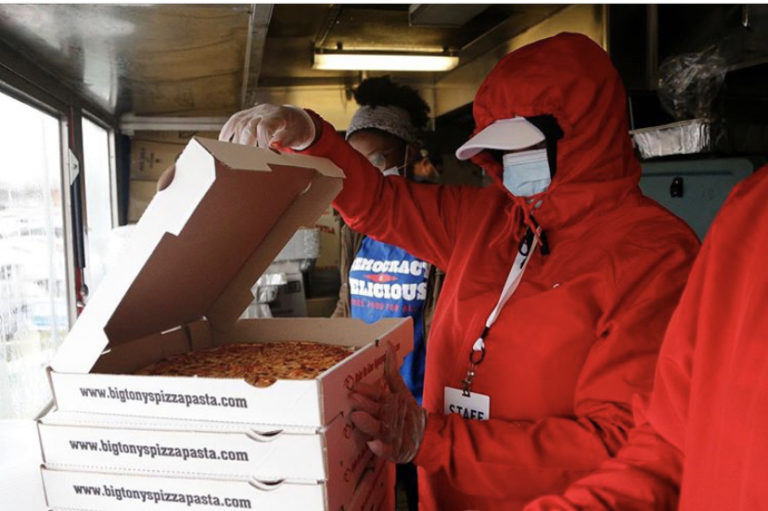 Order free pizza to your polling place while waiting to vote