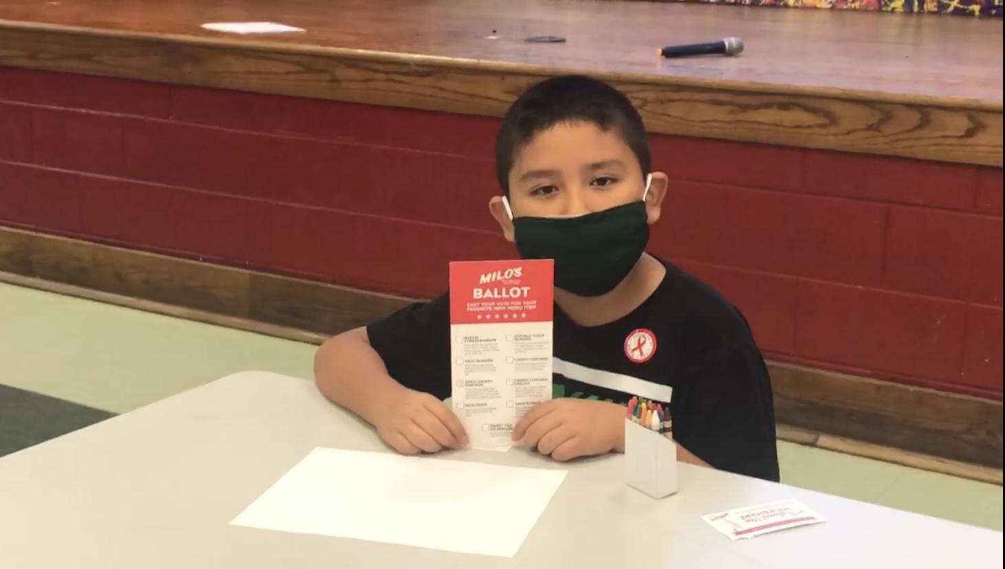 child with milo's ballot
