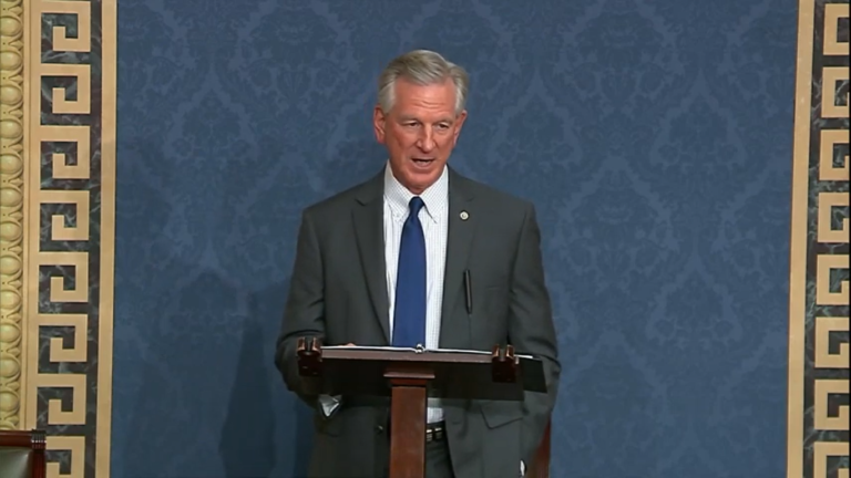 Tuberville makes pledge to servicemembers, slams president in Senate floor speech — 'Biden administration defeated our troops'
