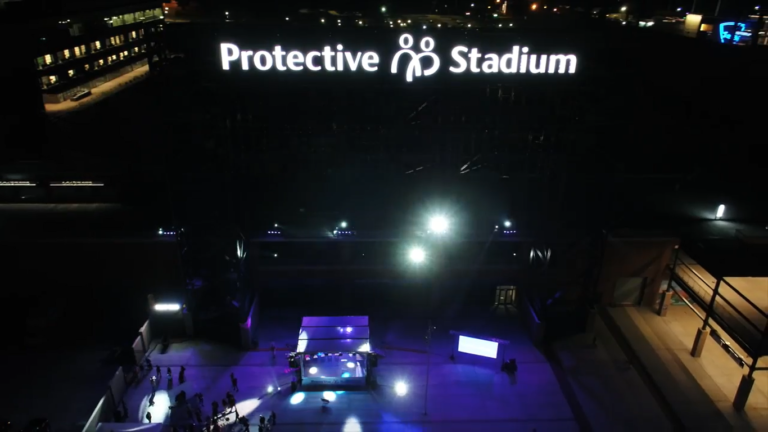 Protective Stadium hosts community partners, lights Birmingham night sky with state's first-ever drone show